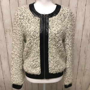 Townsen Fuzzy wool blend jacket with leather trim